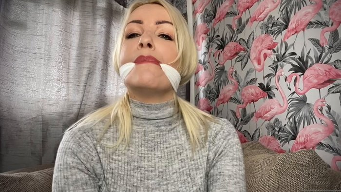 Penny gagged herself scarf, big pair of pantie and PVC tape