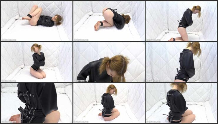 Leather straitjacket bondage in the padded cell with Sweetie Plum