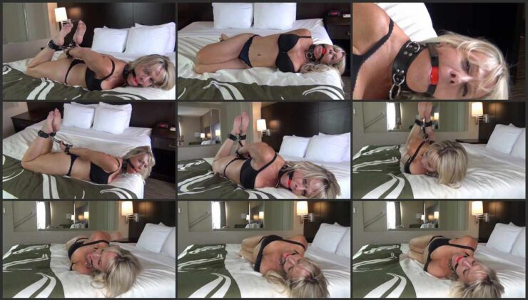 Milf Chrissy barefoot bondage in leather cuffs and ball gag #391