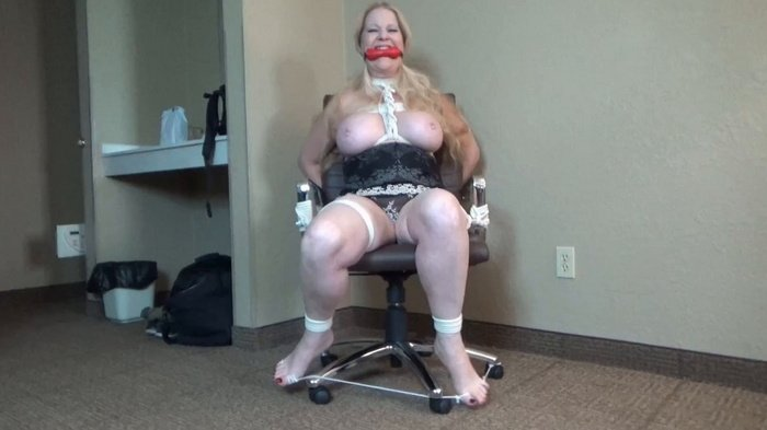 BBW Kristyna bound and gagged on the office chair #685