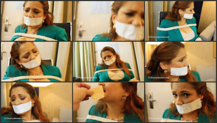 Vivian bound and gagged being held hostage in hotel room. Part 2