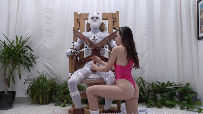 Therapy from Dr Lucid – patient tied tight with straps to chair and cum