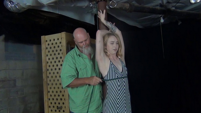Hot little Macy, pole and rope around her neck part 1