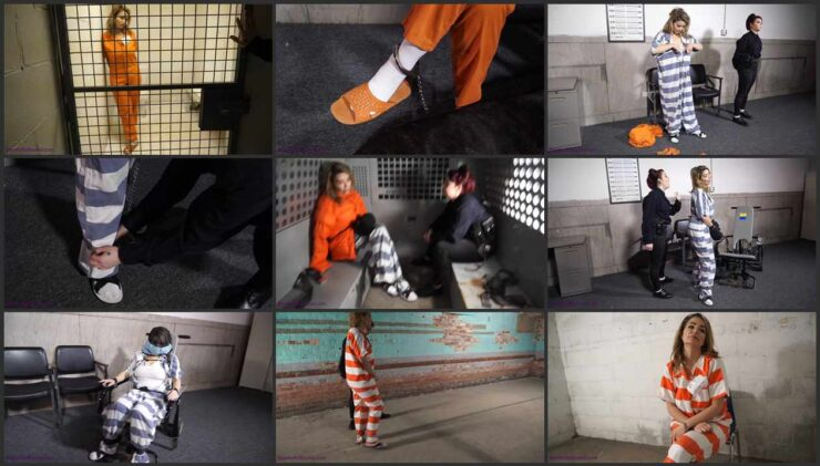 JJ Plush in cuffed and with legs shackled in the cell