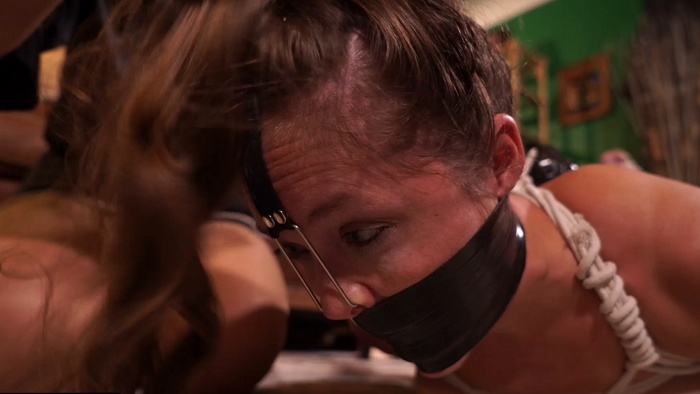 Tied and tickled Rachel ballgagged