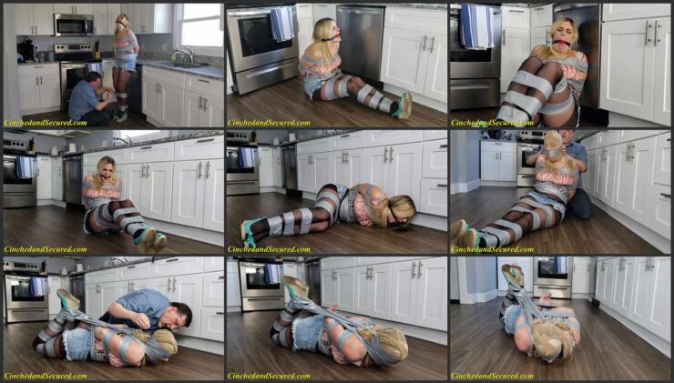 The burglar tied Kendra up very tightly and gagged
