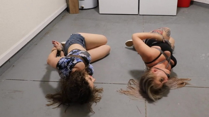 Whitney & Terra hogtied tight in the laundry room