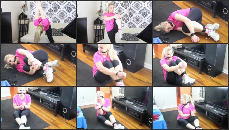 Whitney wrestles with tight tape and cleave gagged