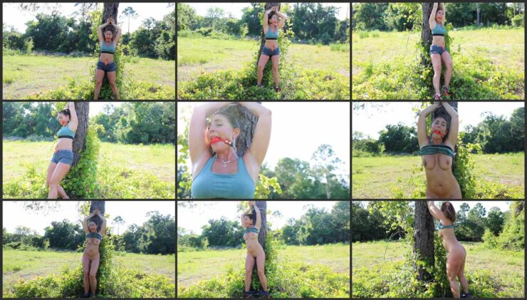 Carissa to stripped and cuffed to a tree