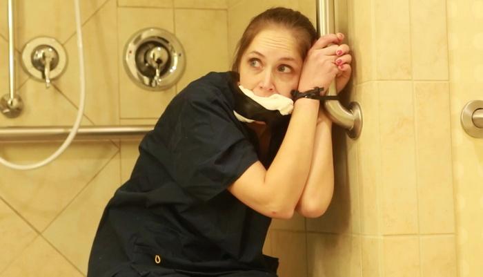 Rachel in nurse uniform in trouble