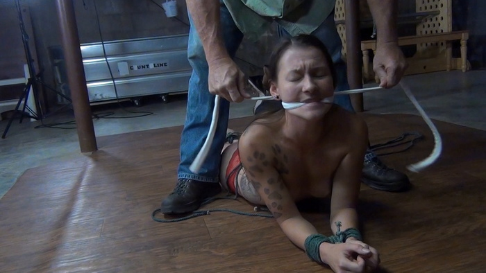 Bad girl Amanda tied up and gags in Ivan's basement
