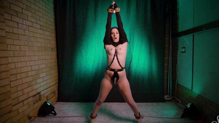 Chastity belt and leather restraints with orgasmic a first time for Miss Bonnie Part 1 of 2