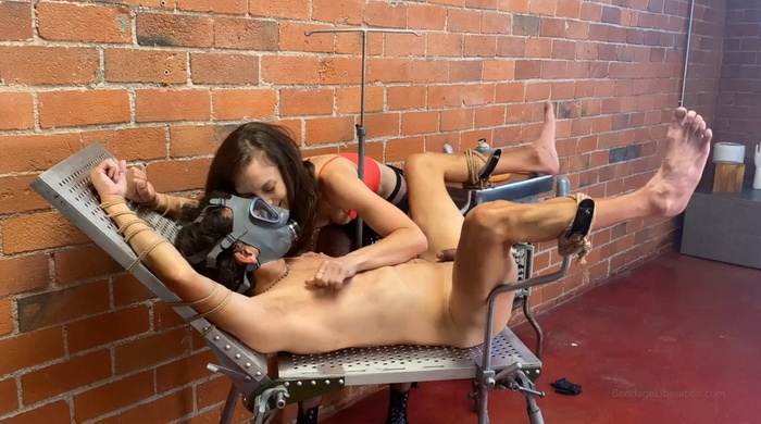 Tied and fucked slave on the new gyno table Part One