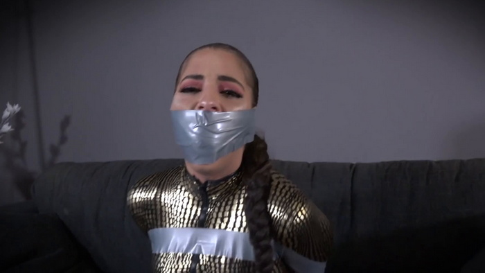 Helpless Emma stuffed wrap gag