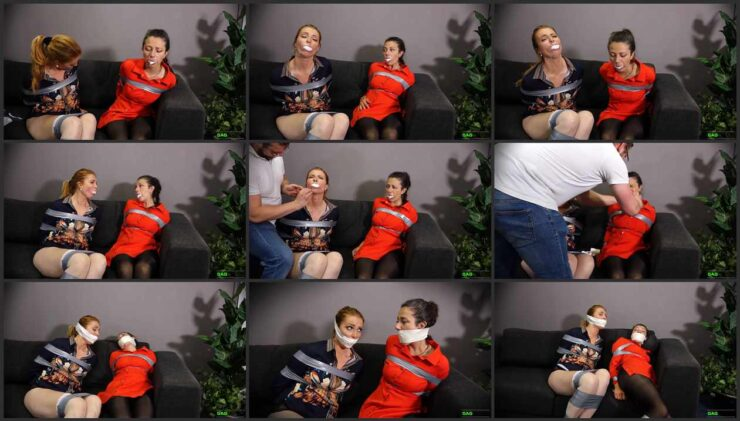 Double cross gags for two office girls Mila & Julia