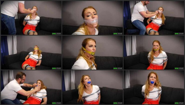 Mila in Tape Bondage and stuffed mouth 3 Gag Video
