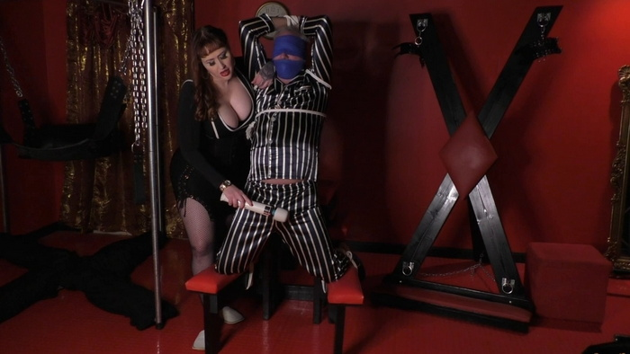 Tied slave in my dungeon and ruined orgasm with hitachi
