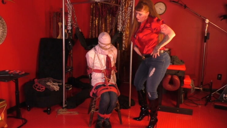 Julie Simone and her boss Pt 1 Chair Tie with Rope