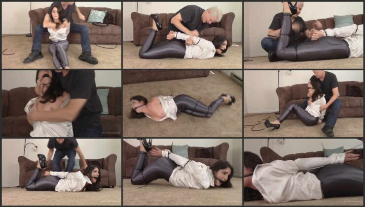 Arielle hogties with a ziptie in tight pants