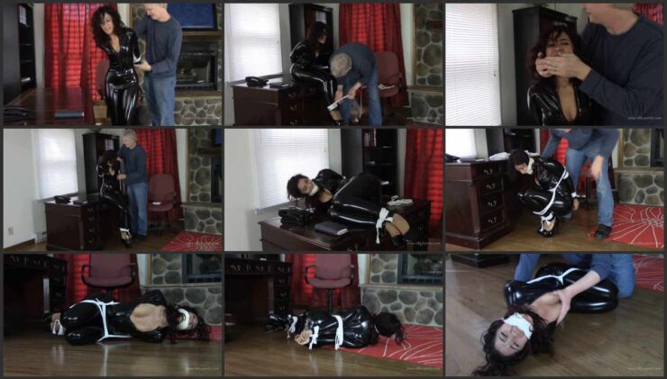 Sahrye Caught and bound in her tight black catsuit