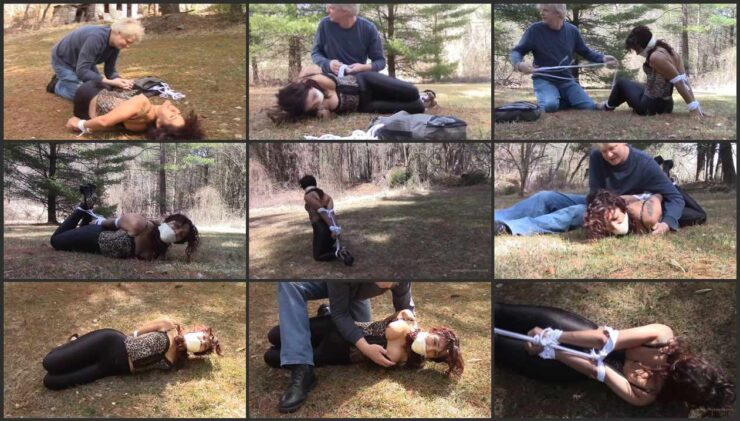 Sahrye predicament twisted and gagged on the grass