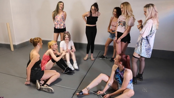Attempted escape from the room of nine girls in handcuffs