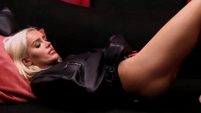 Black leather straitjacket for Russian Katia
