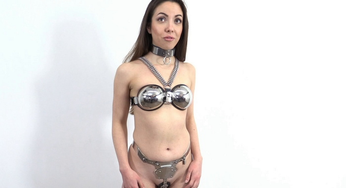 New girl Adele's Casting into a chastity belt, bra and collar