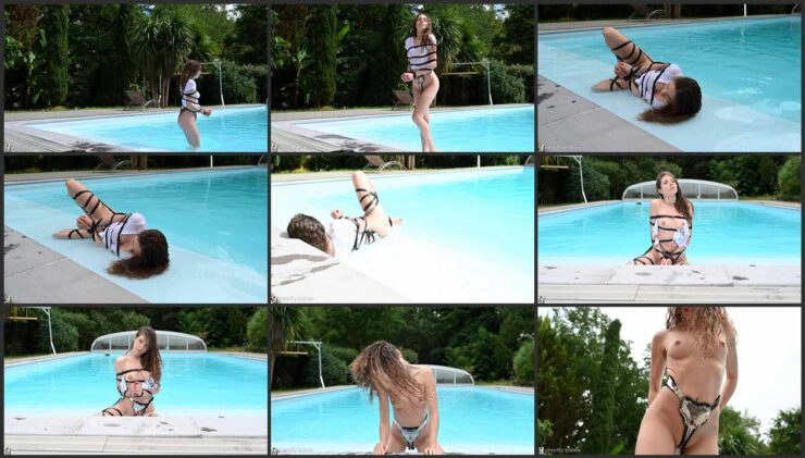 Bondage enthusiast Lizanne in pool shoot