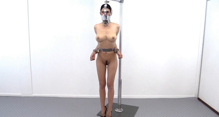 Completely helpless Yasmine in Doll stand