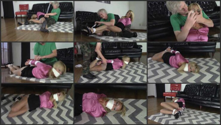Bella is tied up while her house is being searched by a burglar