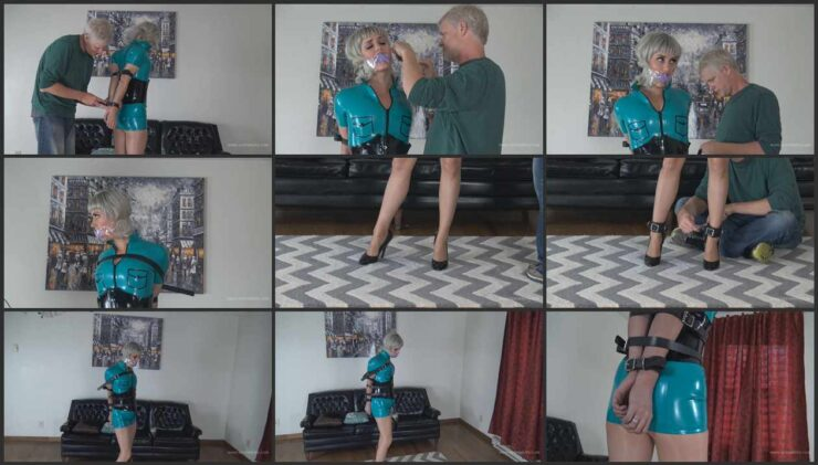 David & Claire in blue latex and a metal clasp